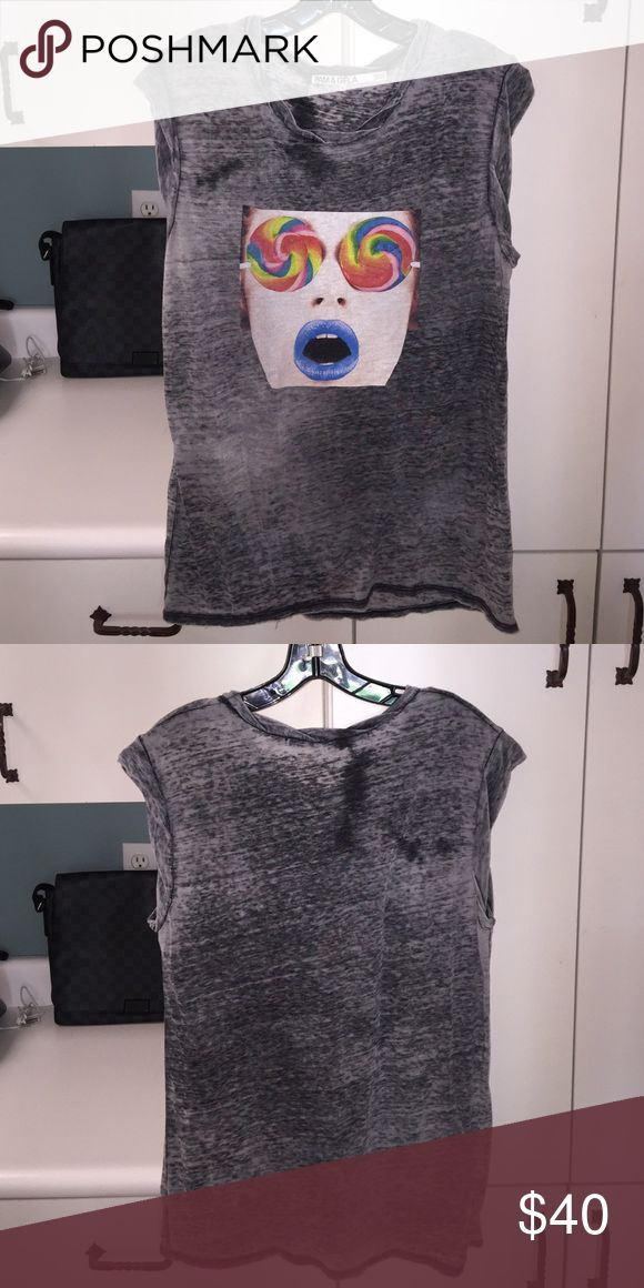 Pam and Gela Burnout T-Shirt Pam & Gela Vintage wash burnout graphic t-shirt. Sleeveless and Super Soft. This is Pam & Gela who were behind and developed the line Juicy Couture. Awesome company and amazing graphics. Great cool fit.  Worn once. Pam & Gela Tops Tees - Short Sleeve