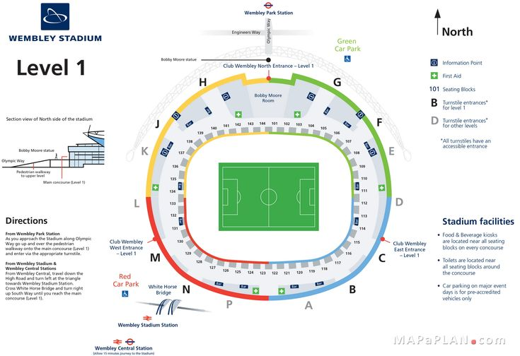 Wembley Stadium seating plan Level 1 entrance gates official map