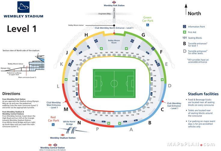 Wembley Stadium seating plan Level 1 entrance gates official map