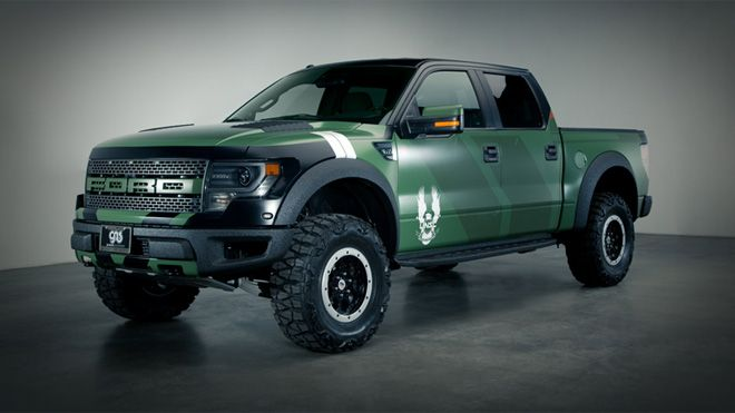 The one-of-a-kind Halo 4 Warthog-inspired Ford F-150 Raptor SVT.