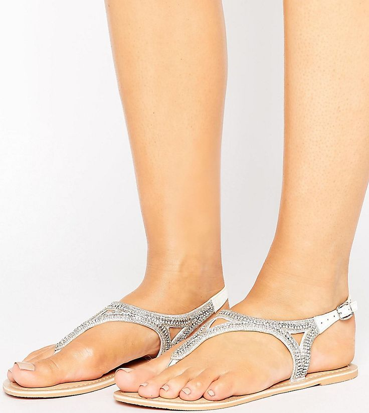 New Look Wide Fit Embellished Flat Sandal - White