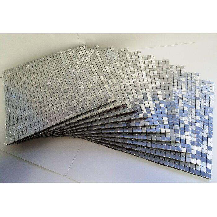 Flexipixtile 11 38 X 11 38 Metal Peel Stick Mosaic Tile In Silver Spoon Wayfair Stick On Tiles Pvc Wall Panels Vinyl Wall Panels