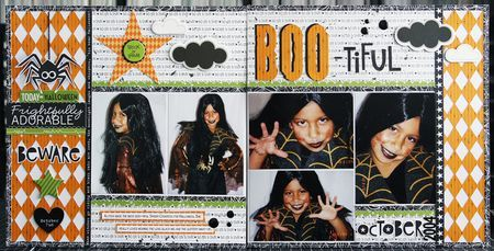 Bella Blvd Halloween Magic, Trick or Treat, and Too Cute To Spook collections. BooTiful layout by creative team member Laura Vegas.