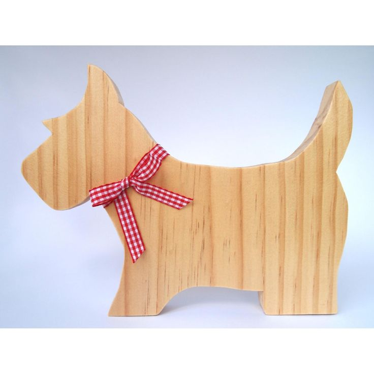Simpledecorative Scottie Dog.A lovely gift idea or addition to any room of the house.Handmade from premium quality, sustainably sourced timber and finished in a clear matte varnish and ribbon.Dog will stand up on its own.Measurements: Height 220mm, Length 170mm, Width 18mmOther ribbon colours and stylesavailable. Due to natural variations in the grain of timber, your item may differ slightly from the picture. If you have any concerns please contact us.This item is for decorative…