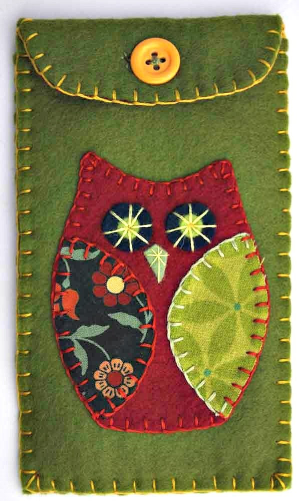 Owl phone case, green felt i pod cover