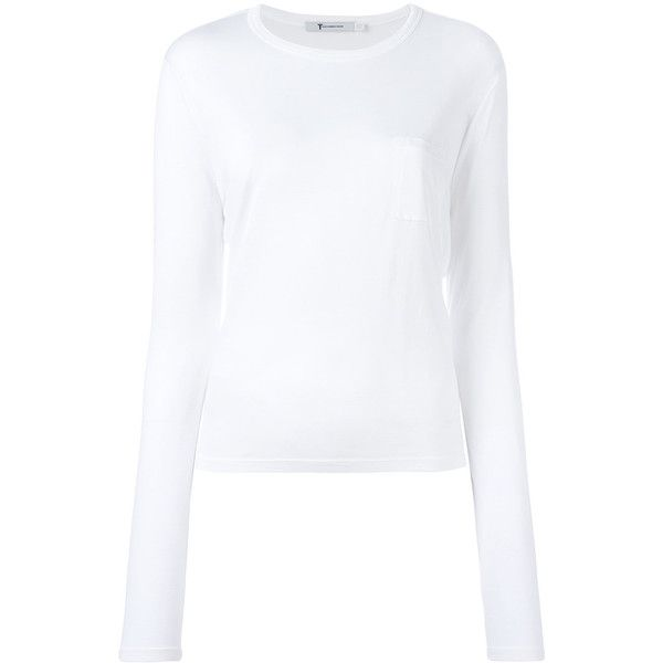 T by Alexander Wang Longsleeve Tee ($91) ❤ liked on Polyvore featuring tops, t-shirts, white, longsleeve tee, white long sleeve top, round neck t shirt, white long sleeve tee and long sleeve t shirts