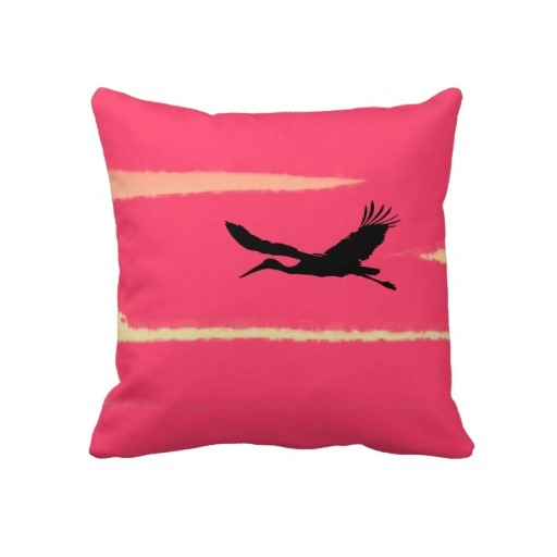 Black crane in the sky pillow