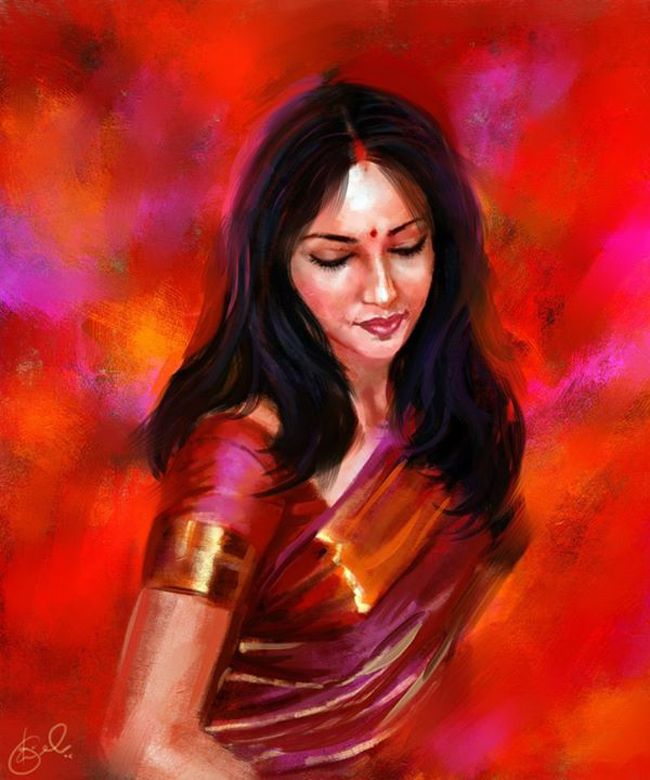 Digital paintings by Kiran kumar capture the beauty of an Indian woman