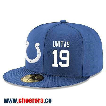 Indianapolis Colts #19 Johnny Unitas Snapback Cap NFL Player Royal Blue with White Number Hat
