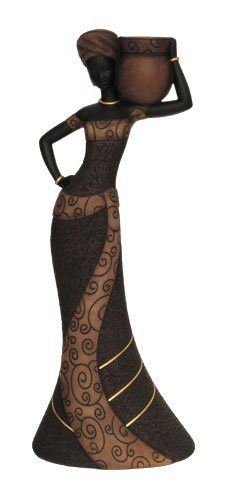 African Woman (Coffee): Essence of Africa Taper Candlestick Holder | The Black Art Depot