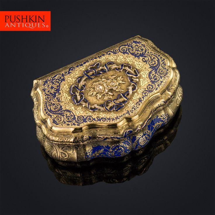 ANTIQUE 19thC GERMAN 14K SOLID GOLD & ENAMEL SNUFF BOX, WEISHAUPT & SOHNE c.1850