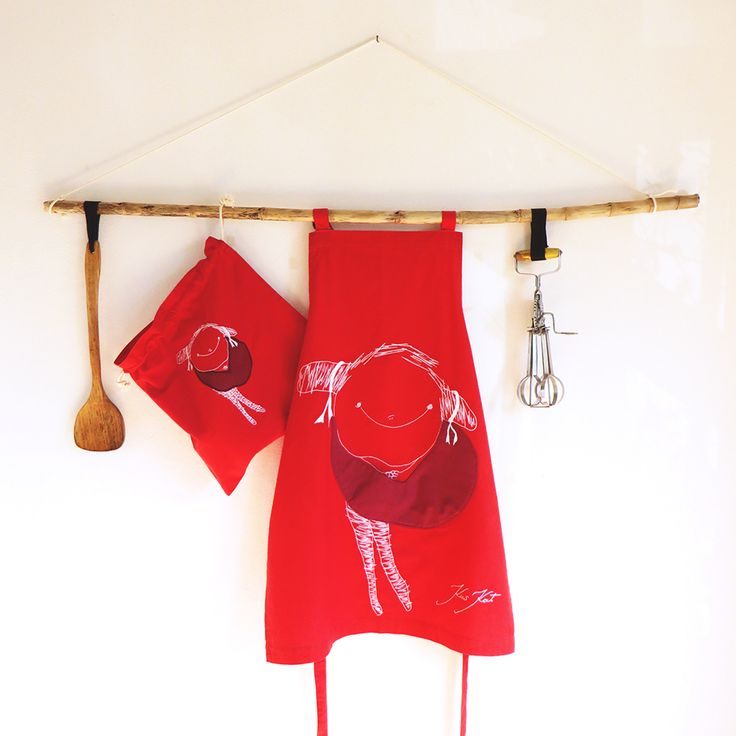Mother's day gift set Red heavy Apron & eco-friendly bread bag