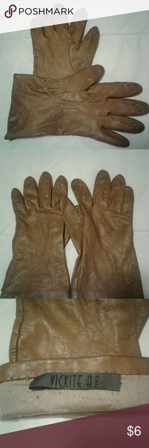Vintage mens leather gloves - Vintage Women S Brown Leather Gloves Size 7