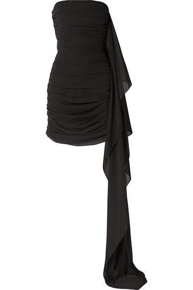 SemSem – Strapless draped ruched chiffon mini dress