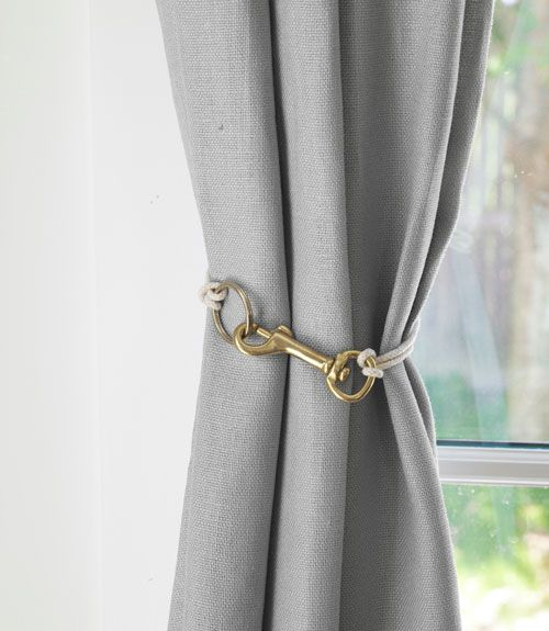 DIY Curtain tiebacks using swiveleye snap hooks