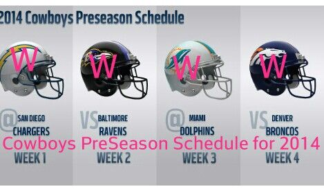 Dallas Cowboys PreSeason Schedule 2014 Aiming for Perfect Season. We will see.