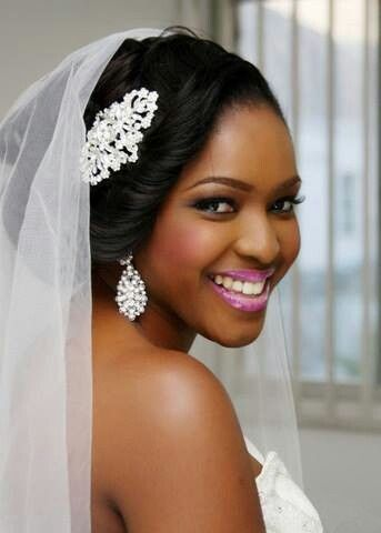 Bridal Makeup For Black Hair : 470 best images about African American Wedding Hair on ...