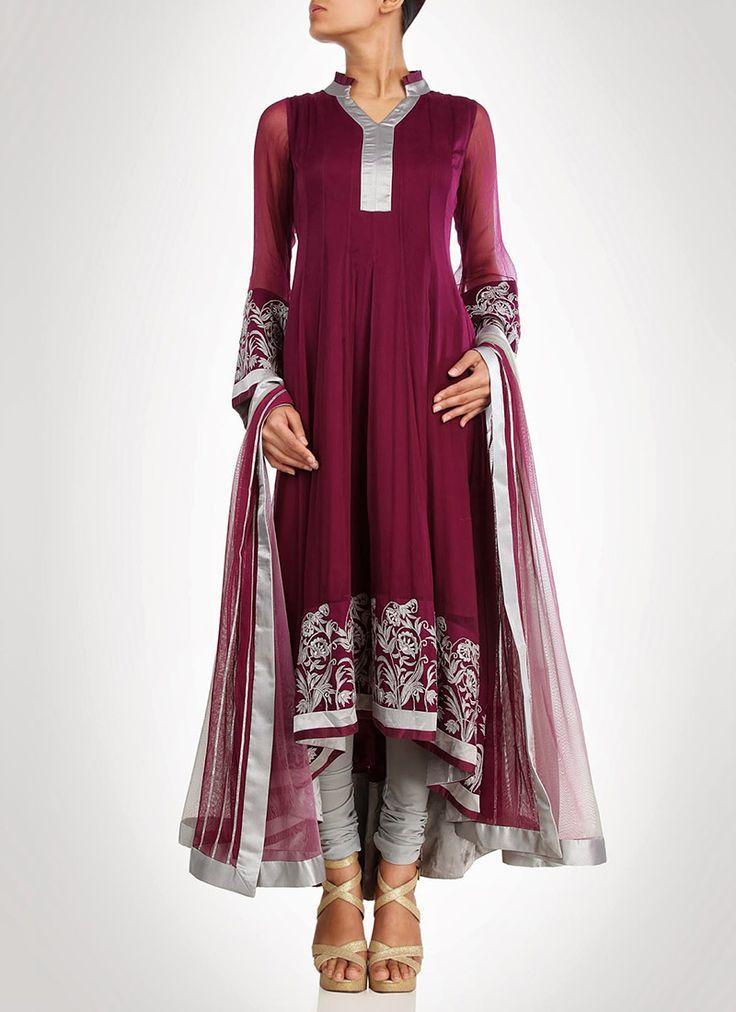 Burgundy Georgette Anarkali Suit