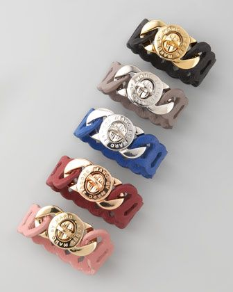 Laser-Cut Leather Katie Turnlock Bracelet by Marc By Marc Jacobs at Neiman Marcus.