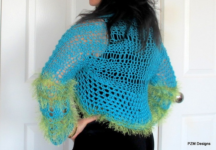 Lacy knit shrug, crochet edging, color block turquoise and green, FREE SHIPPING. $59.00, via Etsy.