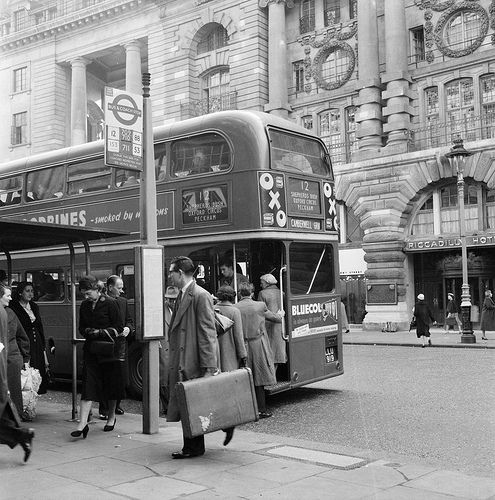 Bus stop in Piccadilly 1956 | Flickr - Photo Sharing!