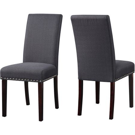 DHI Nice Nail Head Upholstered Dining Chair, Set of 2, Multiple Colors, Black