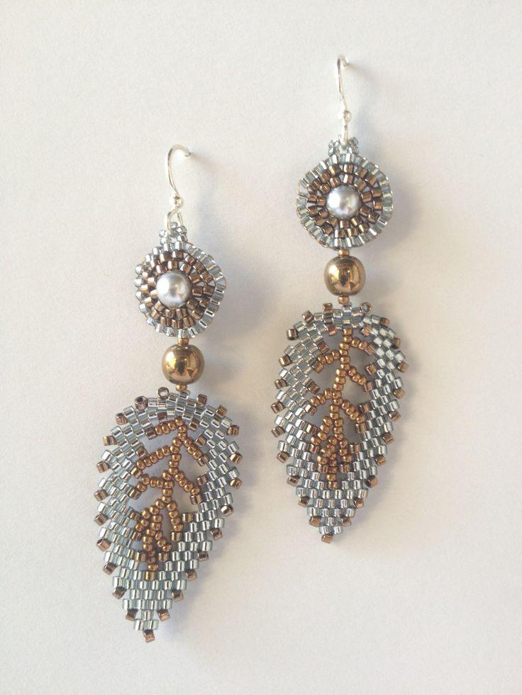 Jeka Lambert, bi-metal silver gold Russian leaf bead woven earrings