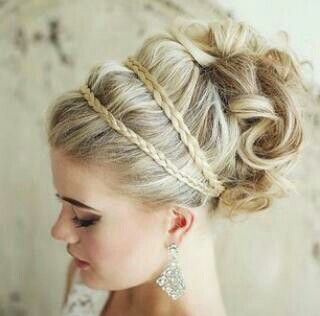 Brides Hair. The flower headband would be in the middle of the tiny braids.