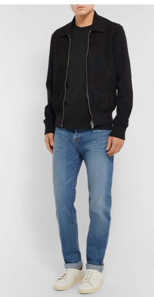 black jacket with black t-shirt but the black t-shirt is a slightly lighter black with lighter blue jeans (maybe the kings of indigo ones I found at thomas punkt would make this happen for me but I'm thinking they are a little tighter than the jeans in the pic but who knows it could still look good) with white or whiter sneakers