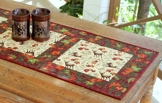 Quilted Table Runner Fall Table Runner Deer by RedNeedleQuilts