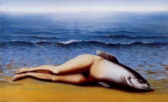 Las piezas clave de Magritte: el otro lado del surrealismo La invención colectiva | Este cuadro utiliza el mito de la sirena de una forma invertida, es decir, tiene una cara de pez y piernas de humano en lugar de cola de pez y torso humano.