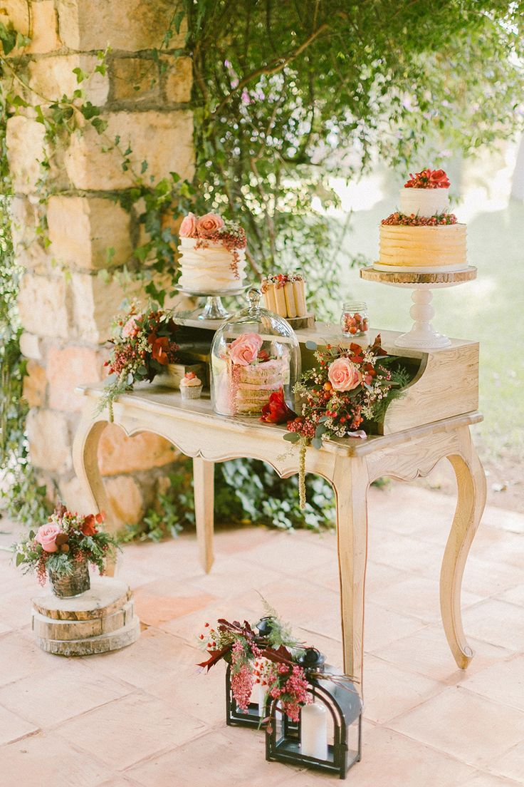 Adorable idea for the dessert table or even water by the ceremony - can get furniture off CL   Read More on SMP: http://www.stylemepretty.com/destination-weddings/2014/12/22/boho-chic-winter-wedding-inspiration/