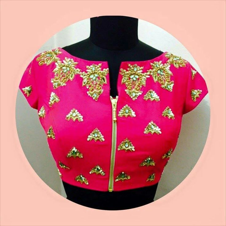 Pink blouse with gold work