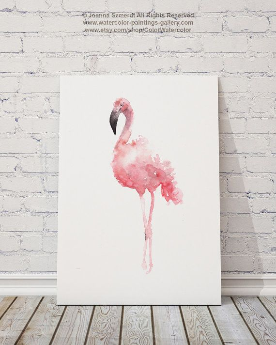 Flamingo aquarel Set van 2 vogels Pink Abstract door ColorWatercolor