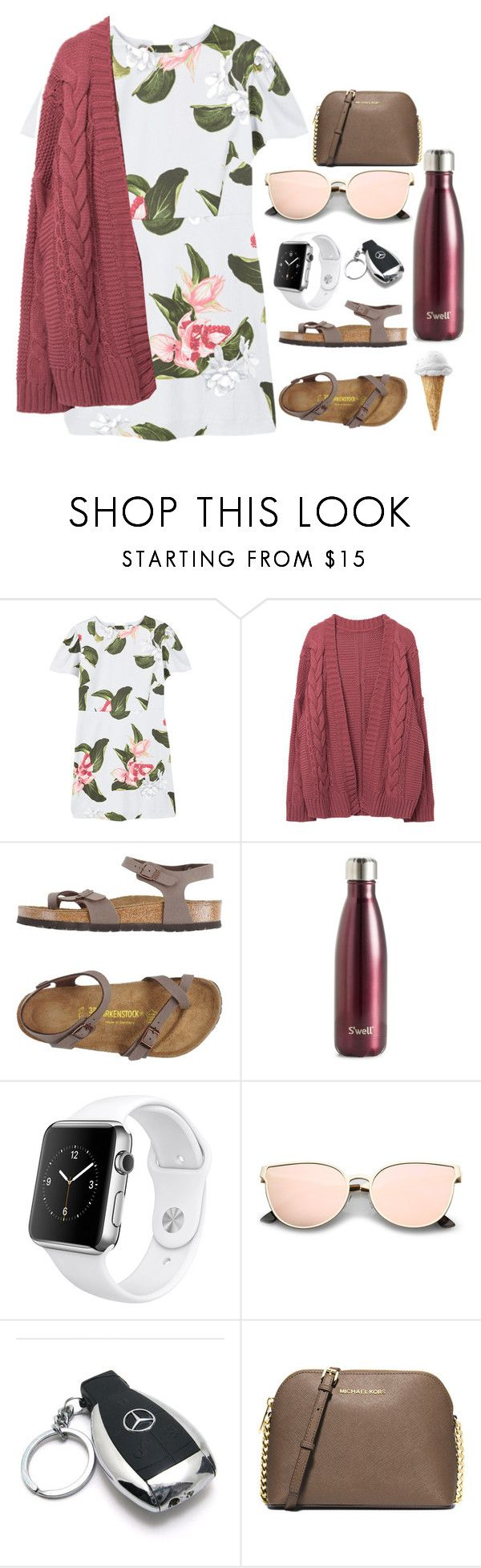 """"" by kyleemorrison ❤ liked on Polyvore featuring MANGO, Birkenstock, S'well, Apple, Mercedes-Benz and MICHAEL Michael Kors"