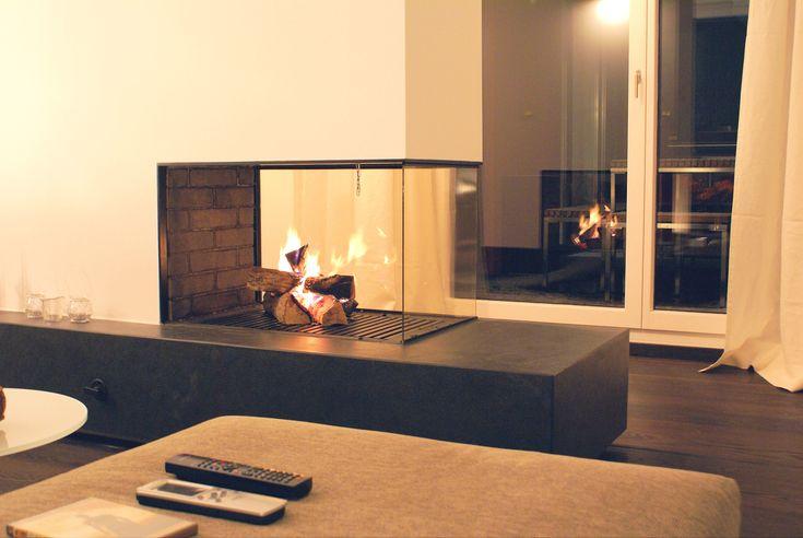 offener kamin mit schieferbank #fireplace #kaminoffen #kamin www ... - Kamin Als Trennwand