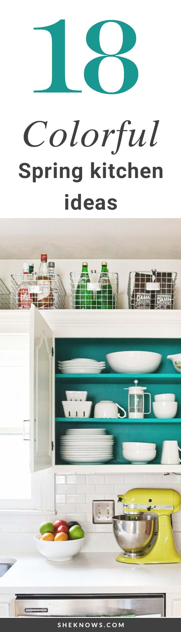 18 Colorful Kitchens to Copy This Spring #Decor