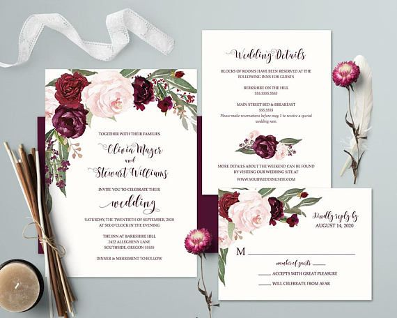 Purple Wedding Invitations Printable Set Plum Watercolor Floral