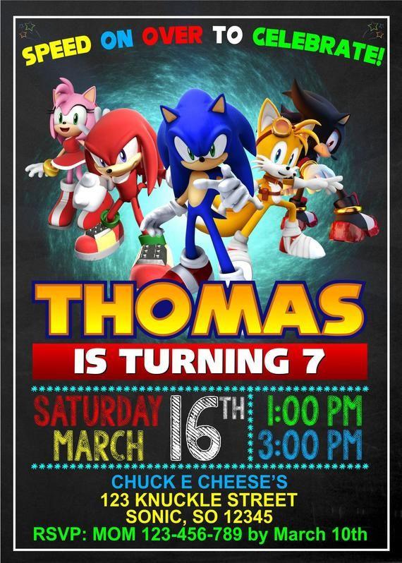 Sonic Invitation Sonic Birthday Sonic Personalized Sonic Etsy Sonic Birthday Sonic Birthday Parties Sonic Party