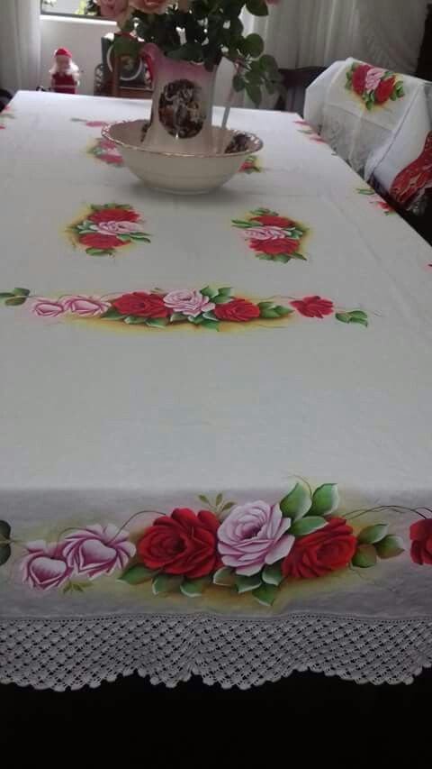 499 mejores im genes en pintura en tela manteles caminos - Manteles de tela ...