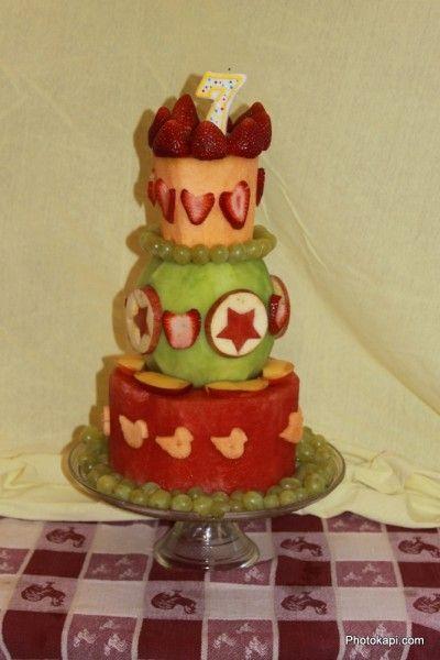 Stacked Fruit Birthday Cake - Photokapi.com