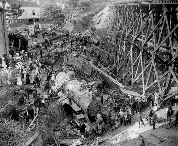 The Old 97, a Southern Railway train enroute to Spencer, North Carolina, derailed at Stillhouse Trestle near Danville, Virginia, 27 September 1903, killing eleven: photographer unknown