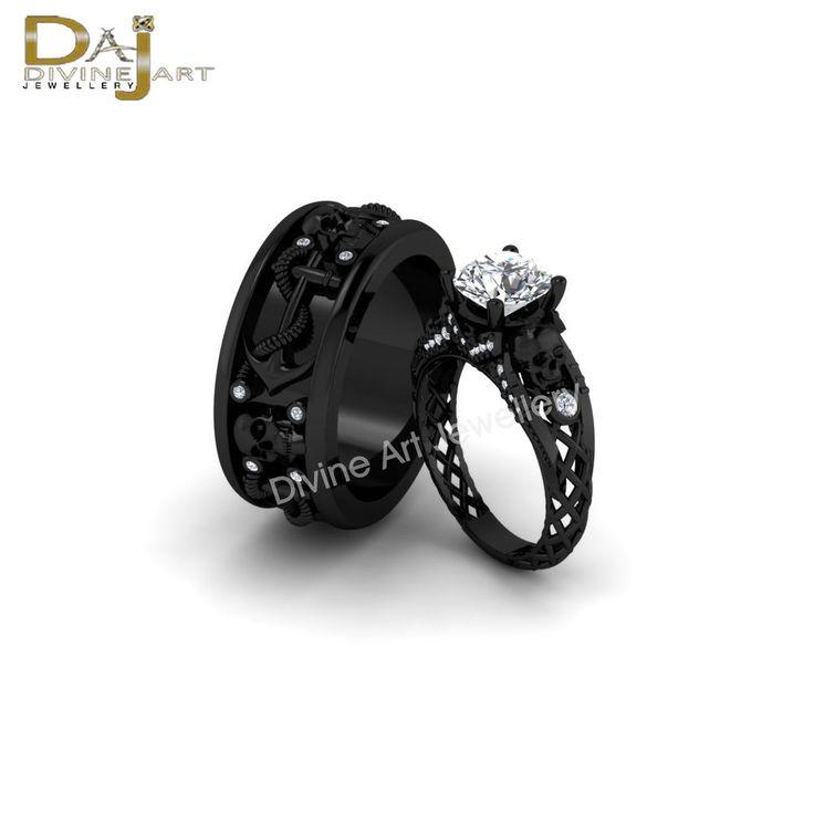 Swarovski Diamond Spooky Skull Anchor His Her Matching Promise Ring Band Set 2pc #DAJ