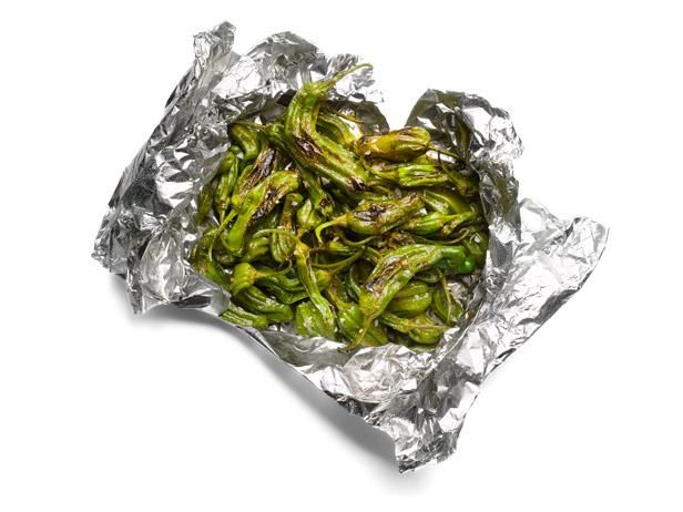 Things to Grill in Foil: Shishito Peppers #GrillingCentral: Food Network, Bbq Recipes, Olive Oils, Medium High Heat, Grilled Peppers, Camping Food, Food Recipe, 50 Things
