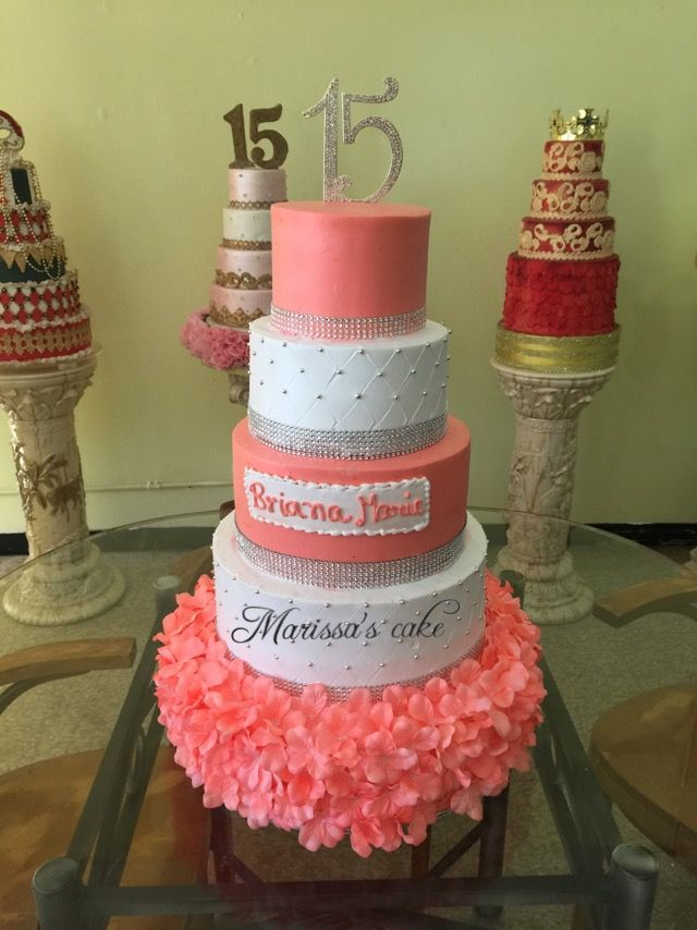 Coral quinceanera cake. Visit us Facebook.com/marissascake or www.marissascake.com