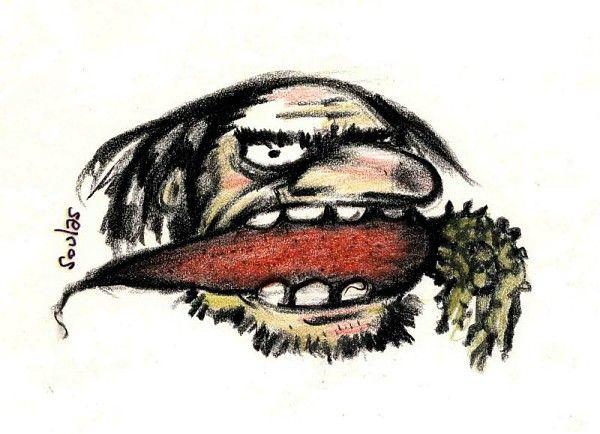Philippe Soulas, l'écologiste à la carotte entre les dents, pastel, vers 1970 / ©Musée du Vivant - AgroParistech