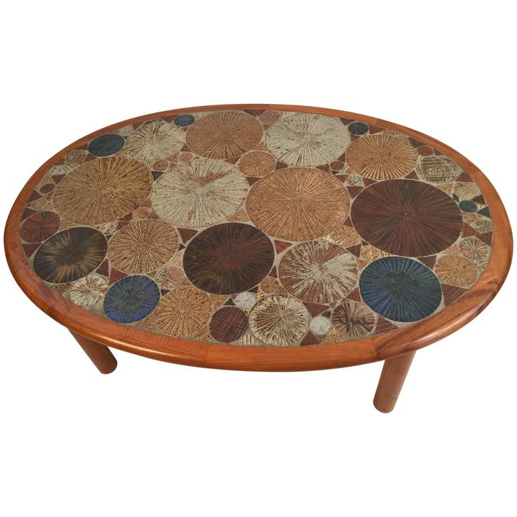 tue poulsen for haslev oval coffee table with art tile inlay see more antique and