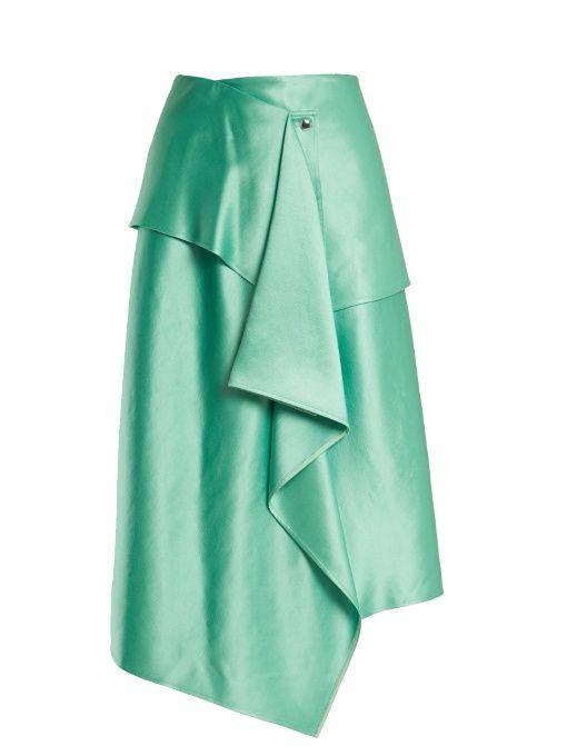 Sies Marjan Brady asymmetric duchess-satin skirt
