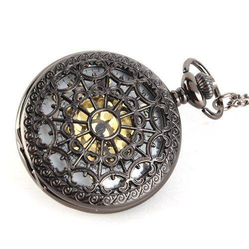 Save $20.22 on Yesurprise Unisex Antique Case Vintage Brass Rib Chain Quartz Pocket Watch 4.2cm Hollow Pattern; only $6.86