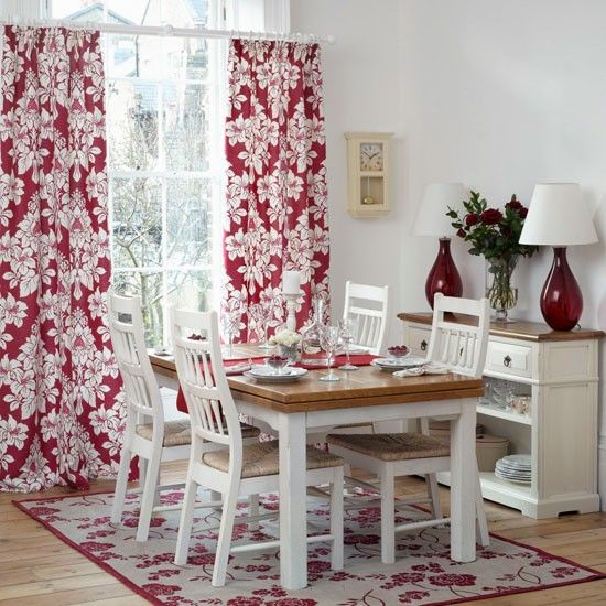 Red And White Floral Dining Room Bold Red Curtains Against A White Backdrop  Add Glamour To Part 49